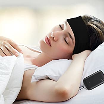 Vizpet Sleep Mask Headphone Headband Sleep Headphones Ultra Thin Earphone as Hair Bands and Headband Soft Blinder Exclude Some Noise for Sleep Air Travel Yoga Running (Black)