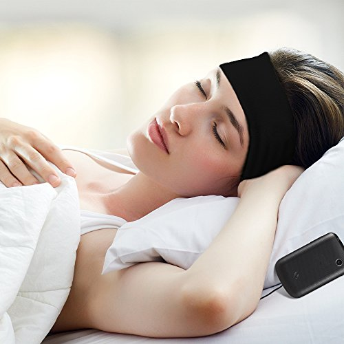 Vizpet Headphone Headband Sleep Headphones Sleep Mask Ultra Thin Earphone as Hair Bands and Headband Soft Blinder Exclude Some Noise for Sleep Air Travel Yoga Running (Black) ()