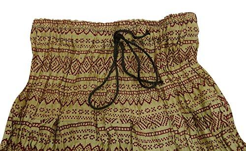 Indischer Sommer Baumwolle Rock Freizeitkleidung Neue Gedruckt Dress Modische Baby Rock Beige und Kastanienbraun YWbVi5ZN