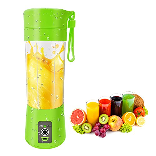 Car Bank Delivery (Portable Blender Single Serve, Personal Size Blender USB Rechargeable Juicer Cup Fruit Mixing Machine Baby Travel 380ml FDA, BPA-Free (Green))
