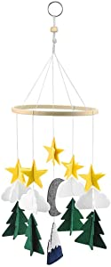 HQDeal Baby Forest Mobile, Felt Ball Mobile, Musical Cot Mobile, Baby Crib Mobile, Baby Crib Hanging Decoration, Baby Wind Chimes, Wind Chimes with Star Clouds for Newborn Infant Girls Boys