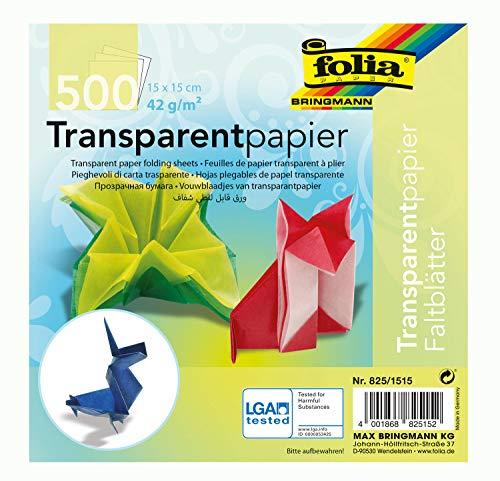 Global Art Folia Semi-Transparent Origami Paper 6-Inch-by-6-Inch Bulk Pack 500 Sheets, 6