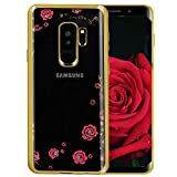 Amocase Soft Clear Case with 2 in 1 Stylus for Samaung Galaxy S10,Premium Bling Glitter Crystal Pink Flower Butterfly Electroplate Frame Back Case for Samaung Galaxy S10 - Gold