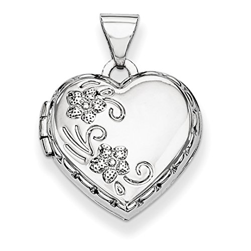 ICE CARATS 14kt White Gold Heart Shaped Reversible Floral Photo Pendant Charm Locket Chain Necklace That Holds Pictures Fine Jewelry Ideal Gifts For Women Gift Set From (14kt Gold Heart Charm Pendant)