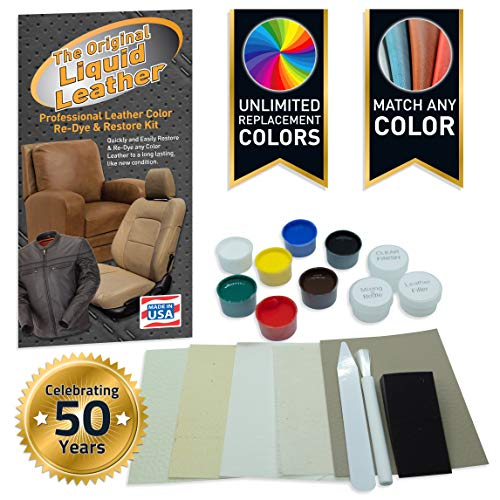 Liquid Leather Repair and Re-Color Kit for All Vinyl & Leather. Restores to New Condition; Car Seats, Boats, Upholstery, Sofas, Chairs, Leather Coats, and More