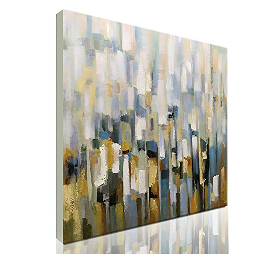 Asdam Art-Abstract Wall Art White 3D Hand Painted Oil Painting on Canvas Framed Colorful Artwork for Living Room Dining Room Bedroom Bathroom Office(32x32 inch) - Hand Painted Dining Room