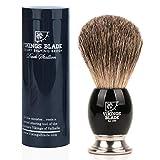 VIKINGS BLADE 'Dark Stallion' Luxury Shaving Brush, Heavy Steel Base + Obsidian Acrylic