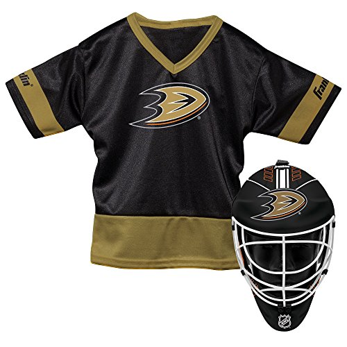 Franklin Sports Anaheim Ducks Kid's Hockey Costume Set - Youth Jersey & Goalie Mask - Halloween Fan Outfit - NHL Official Licensed Product ()