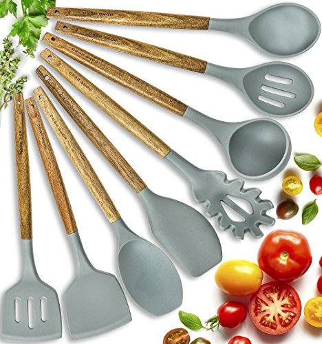 Silicone Cooking Utensils Kitchen Utensil set - 8 Natural Acacia Wooden Silicone Kitchen Utensils Set - Silicone Utensil Set Spatula Set - Silicone Utensils Cooking Utensil Set - Kitchen Tools Gadgets by HomeHero