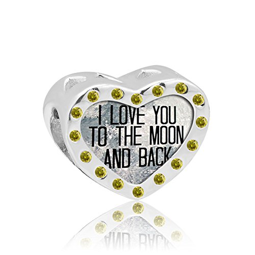 Pugster 925 Silver I Love You To The Moon And Back Crystal Heart Charm Bead Sale Fits Pandora Charms Bracelet (November Yellow)