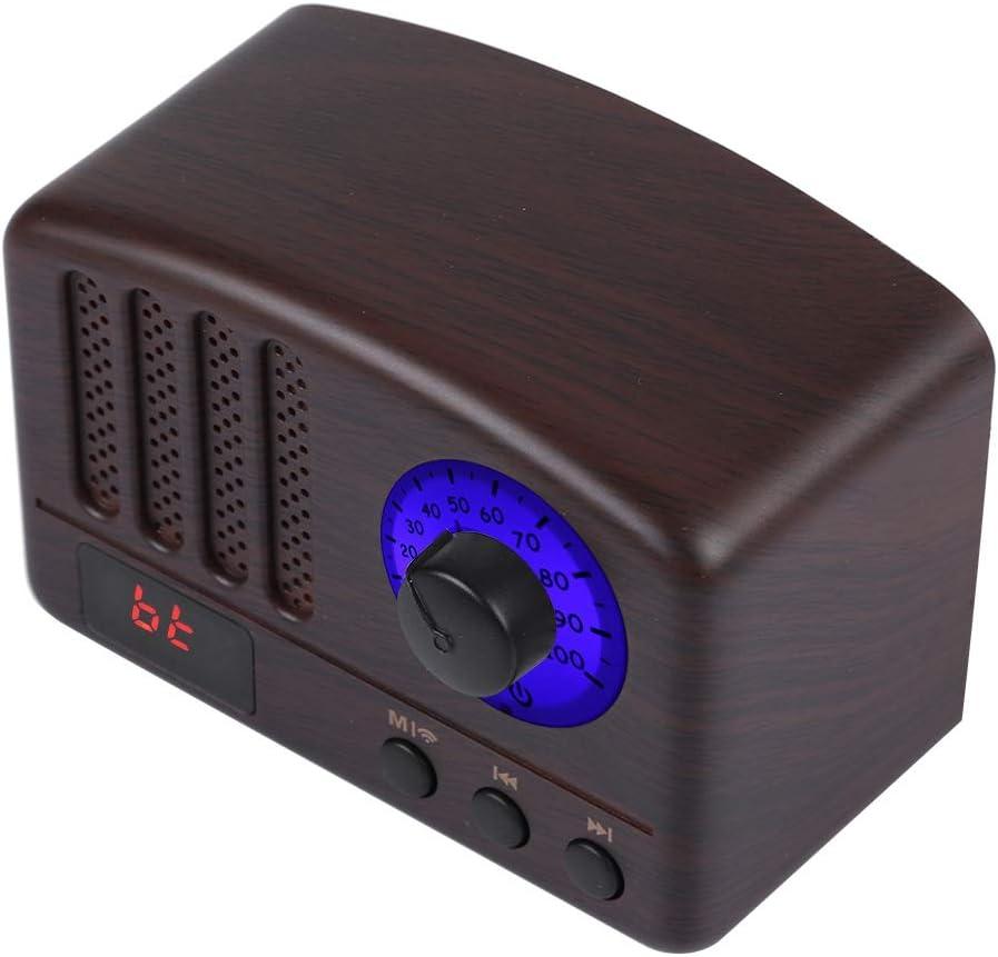 Jimfoty Altavoz portátil, PAVAREAL Altavoz Bluetooth inalámbrico portátil Retro Altavoces estéreo Super Bass Radio FM Productos de electrónica de Consumo Altavoz Bluetooth inalámbrico(Brown)