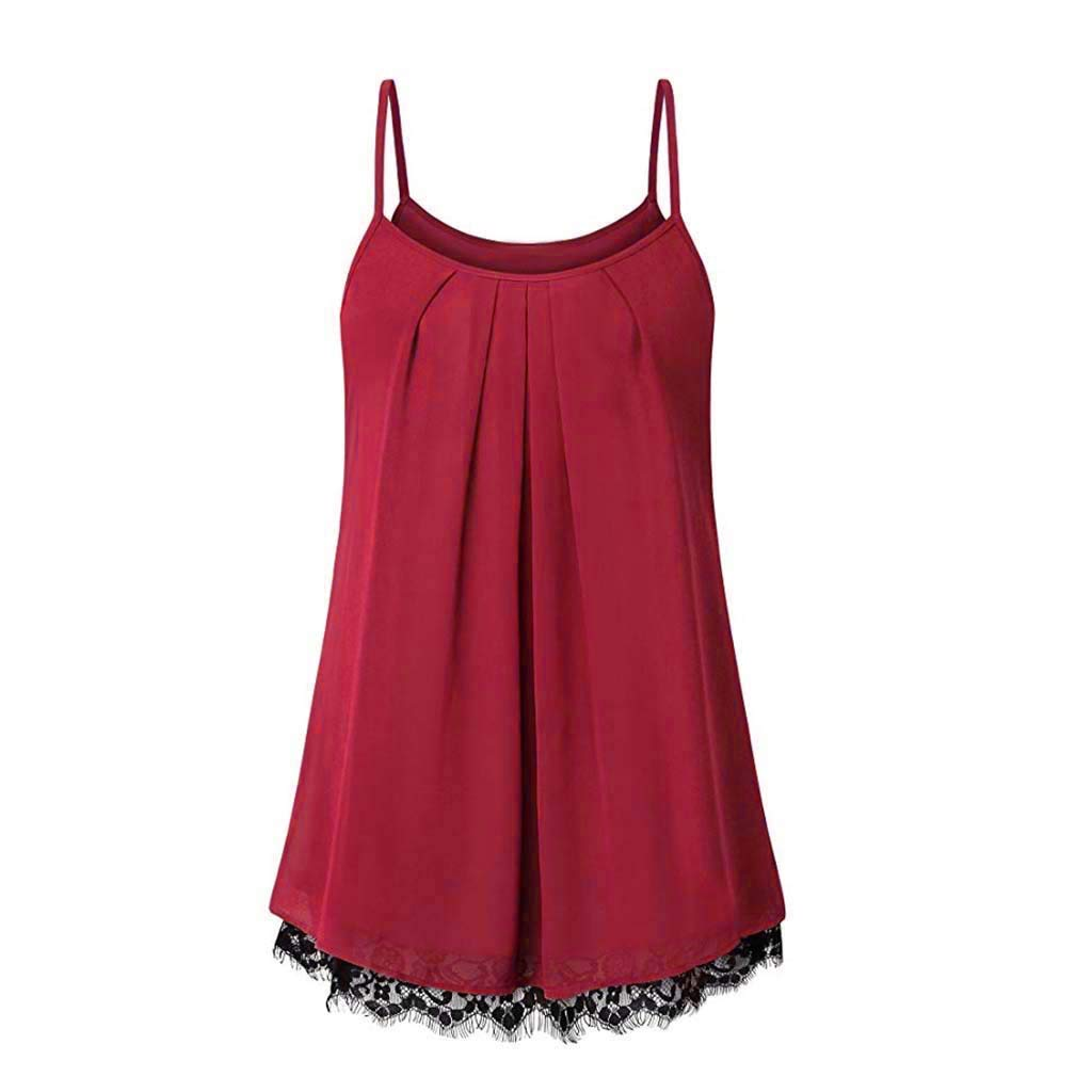 TWGONE Cami Tank Tops For Women Lace Loose Sleeveless Solid Color Basic Vest(Large,Red)