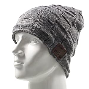 Wireless Music Hat, Knit Winter Warm Beanie w/ Built-in Compatible with Bluetooth Stereo Headphone, Microphone for Hands-Free Calling – Dark Gray