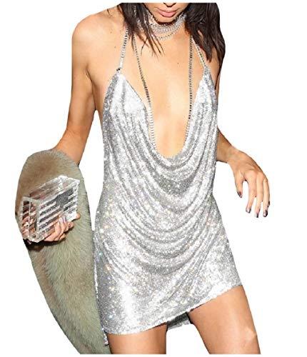 Andopa Womens Sequin Glitter Backless Halter Club Short Mini Dresses Silver XXS