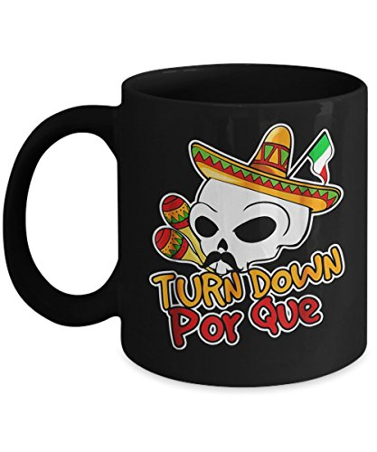 Novaon Store Turn Down Por Que, Mexican Dia De Muertos Halloween - Happy Halloween Day Coffee Mugs Gift Coffee Cup - Halloween Great Gifts for Men, Women, Kids, Mo -