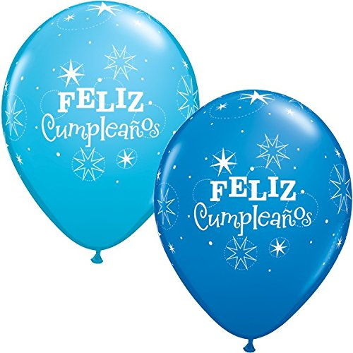 Amazon.com: Qualatex Feliz Cumpleanos Azul & Robins Egg Azul ...