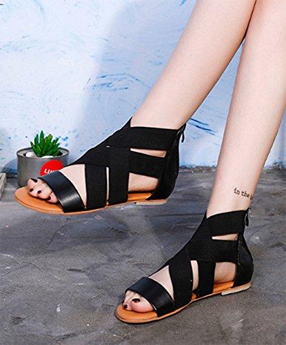para Hot Shoes Sandalias Summer Peep Toe Strap Boho planas mujer Elastic Black 5vvfxz1qw