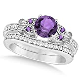 Preset Butterfly Amethyst and Diamond Engagement Ring and Band Bridal Set 14k White Gold 1.50ctw