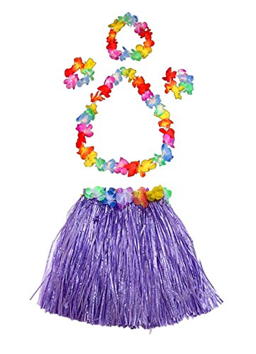 Fortuning's JDS Girl's Elastic Hawaiian Hula Dancer Grass Skirt with Flower Costume Set -Purple -