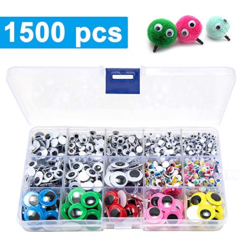 1500pcs Wiggle Googly Eyes Self Adhesive, for Craft Sticker Multi Colors and Sizes for DIY by UPSTONE ()