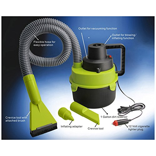 3 in 1 Multifunction Turbo Wet and Dry Vacuum Cleaner - Great For Car Travel, Keeps Vehicle cleans and Dry, Able To Inflate Inflatables by Auto Bargains