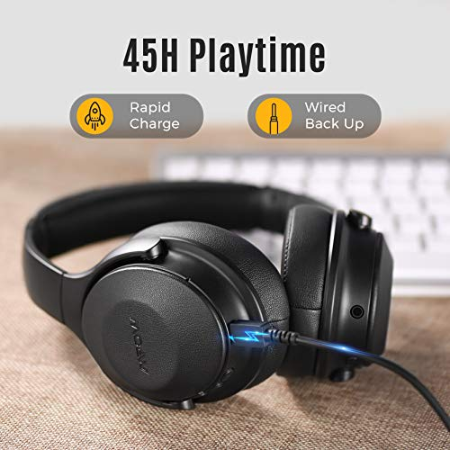 Mpow 45Hrs Active Noise Cancelling Headphones, H17 Bluetooth Headphones with Microphone, Over Ear, Quick Charge, Deep Bass, Wired Wireless Headset for Kids, Adults, Travel, Online Class, Home Office