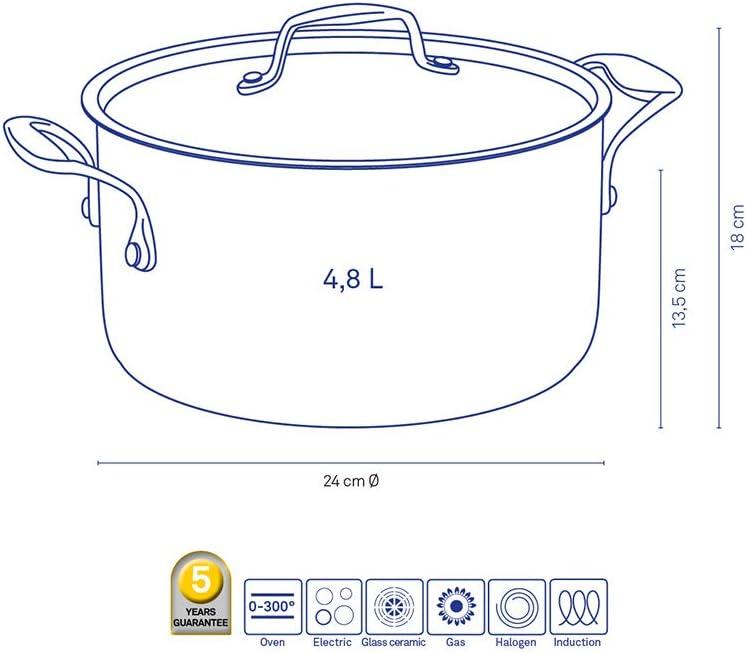 Diam/ètre 24 cm Stratum Compatible Induction Kela 11147 Faitout Anti-Adh/ésif Rev/êtement Ext/érieur Cuivre