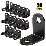 Eliseo 50 PCS Black L Bracket, 26mmx26mmx16mm Small Metal Corner Brace Joint Fastener, 90 Degree Angle L Shaped Shelf Bracket for Wood, Shelves, Furniture, Cabinet and More