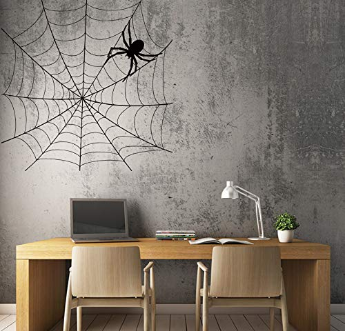 Wall Decal Spider Web Halloween Funny Scary Vinyl Decor and Stick Wall Decals]()