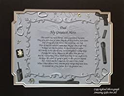 Corrections Officer Gift for Dad My Greatest Hero Sentimental Poem for Christmas Birthday Father\'s Day Occasion