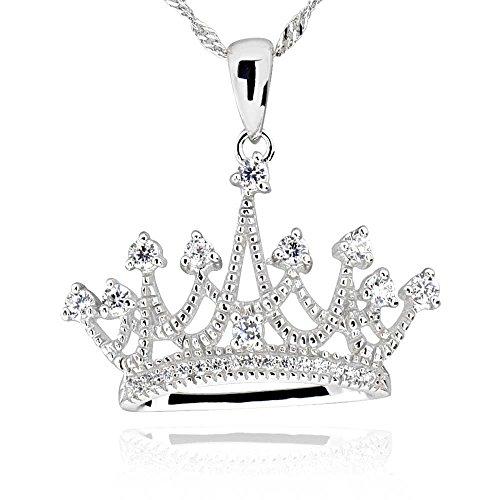 GemsChest Sterling Silver Round Cubic Zirconia Crown Pendant Necklace 18