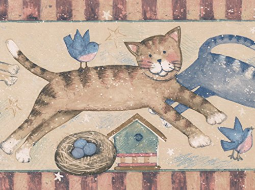 (Animated Cats Jumping over Birdhouses Beige Wallpaper Border Retro Design, Roll 15' x 7'')