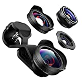 LIFANTE 5K HD No Distortion Cell Phone Camera Lens, 0.45X Super Wide Angle Lens + 198°Fisheye Lens + 20X Macro Lens Clip-on Lens for iPhone 7 6s 6 Plus 5s Samsung Other Smartphones & iPad-Black