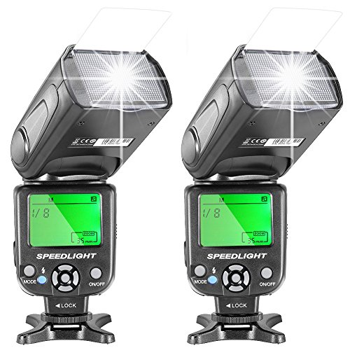 Neewer Two NW-561 Speedlite Flash with LCD Display for Canon Nikon Panasonic Olympus Fujifilm and Other DSLR Cameras Such as Canon 700D 650D 600D,5D Mark II III,and Nikon D7200 D7100 D5200 D5000 by Neewer