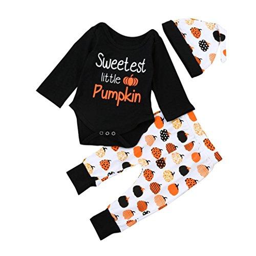 GBSELL 3PC Newborn Kids Baby Boys Girls Halloween Outfits Clothes Romper Tops + Pants + Hat Set (Pumpkin, 0-6M) ()