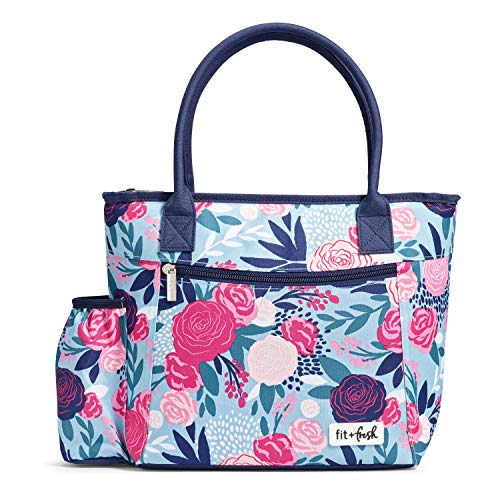 Fit & Fresh Insulated Lunch Bag for Women, Atwater Blue Lorella Posy