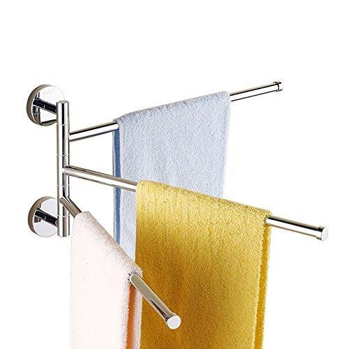 Bathroom Swing Arm Towel Bars 3-arms Wall Mount, Brass, Polished Chrome (3 Bars)
