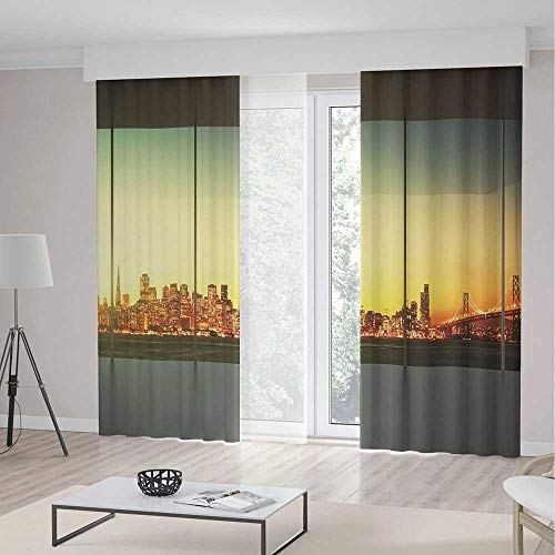 iPrint Modern Decor Room Decor Curtains,Empty Office at Sunset View to Skyline Architecture Downtown City,Living Room Bedroom Window Drapes 2 Panel Set,157 W 95 L,Orange Grey Green -