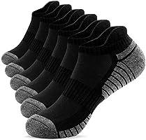 TANSTC Mens Running Socks 6 Pairs Anti-Blister Cushioned Cotton Trainer Socks for Men Women Ladies Sports Low Cut...