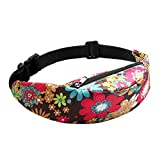 Bambus Fanny Pack for Women and Men - Cute Printed Waist Pack Belt Bags with Adjustable Strap for Running/Daily Use (Flowers)