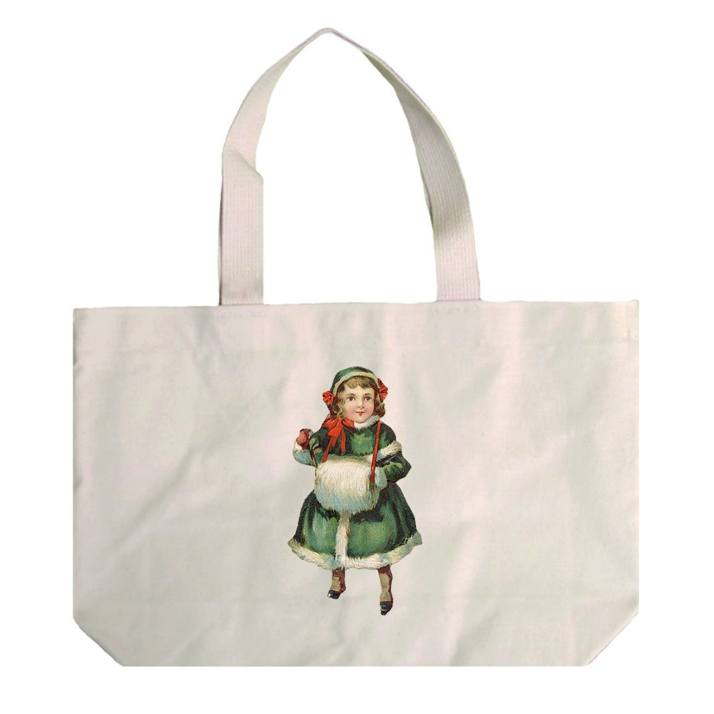 Natural Canvas Beach Tote Girl In Green Coat Vintage Look #3 By Style In Print