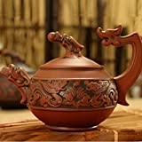Teapot Yixing 100% Authentic (Hand-Carved Dragon Heap) Antique Kung Fu Teapot, Capacity 260ml