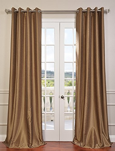 Silk Curtain (Half Price Drapes PDCH-KBS8-84-GRBO Grommet Blackout Vintage Textured Faux Dupioni Silk Curtain, Flax Gold)