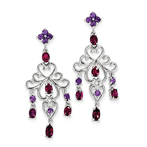 Amethyst Rhodolite Bracelet (925 Sterling Silver Rhodolite Simulated Garnet and Amethyst Dangle Earrings (45mm x 18mm))