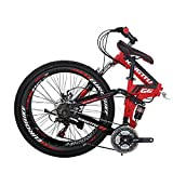 Eurobike 26' Full Suspension Mountain Bike 21 Speed Folding Bicycle Men or Women MTB (G6 Red)