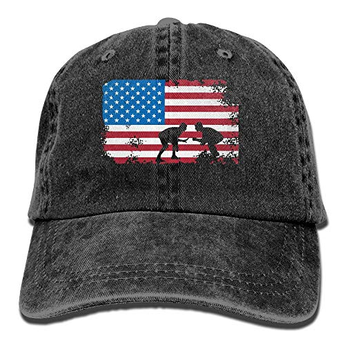 WYFQ501 American Flag Wrestling Men's Women's Adjustable Jeans Baseball Hat | Denim Fabric Trucker Hat by WYFQ501