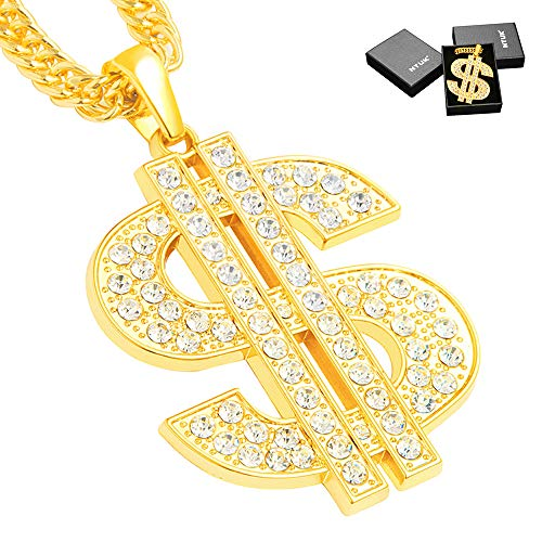 NYUK Gold Chain for Men with Dollar Sign Pendant -