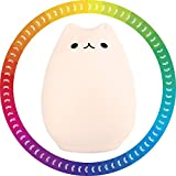 Night Light Cat Lamp 7-Color Mood Light 0.4W Mini Portable LED Soft Silicone Cartoon Cat Baby Nursery Lamp for Kids Adults Bedroom,Sensitive Tap Control, USB Rechargeable