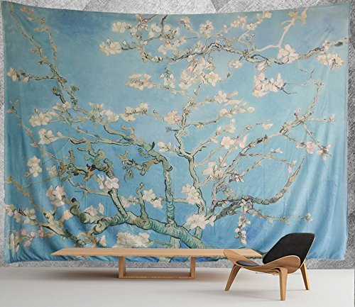 "HMWR Wall Hanging Tapestry Art Vincent Van Gogh Almond Blossom Tree Wall Dorm Decor 60"" x 90"""