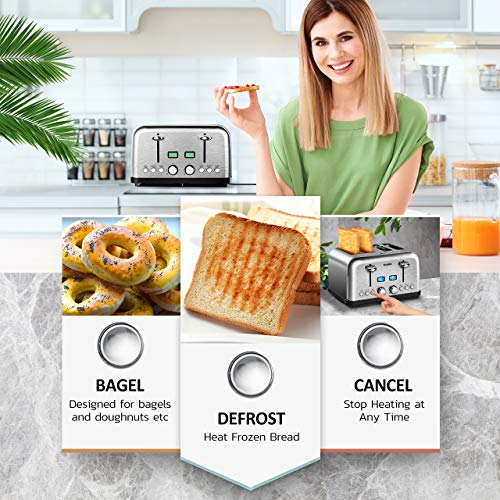 4 Slice Toaster, HOLIFE Stainless Steel Toaster [2 LCD Timer Display] Bagel Toaster (6 Bread Shade Settings, Bagel/Defrost/Reheat/Cancel Function, Wide Slots, Removable Crumb Tray, 1500W, Silver) by Holife (Image #4)